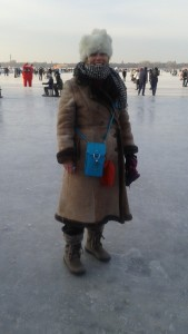 In Harbin, January 12, 2016: A Russian sheepskin coat, bought for my mother in the 1970s, along with a Yak fur hat I purchased in Lijiang China in 2012, made for the perfect Russian-style getup. And it was warm.