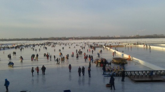 Frolicking on the Songhua River just outside Stalin Park in Harbin.